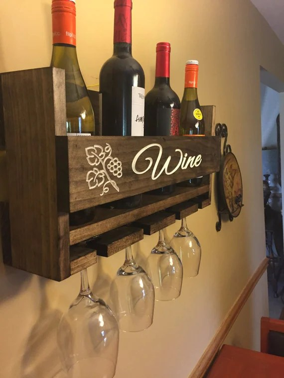 Fathers Day Gift Engraved Personalized Wine Rack Carved Custom