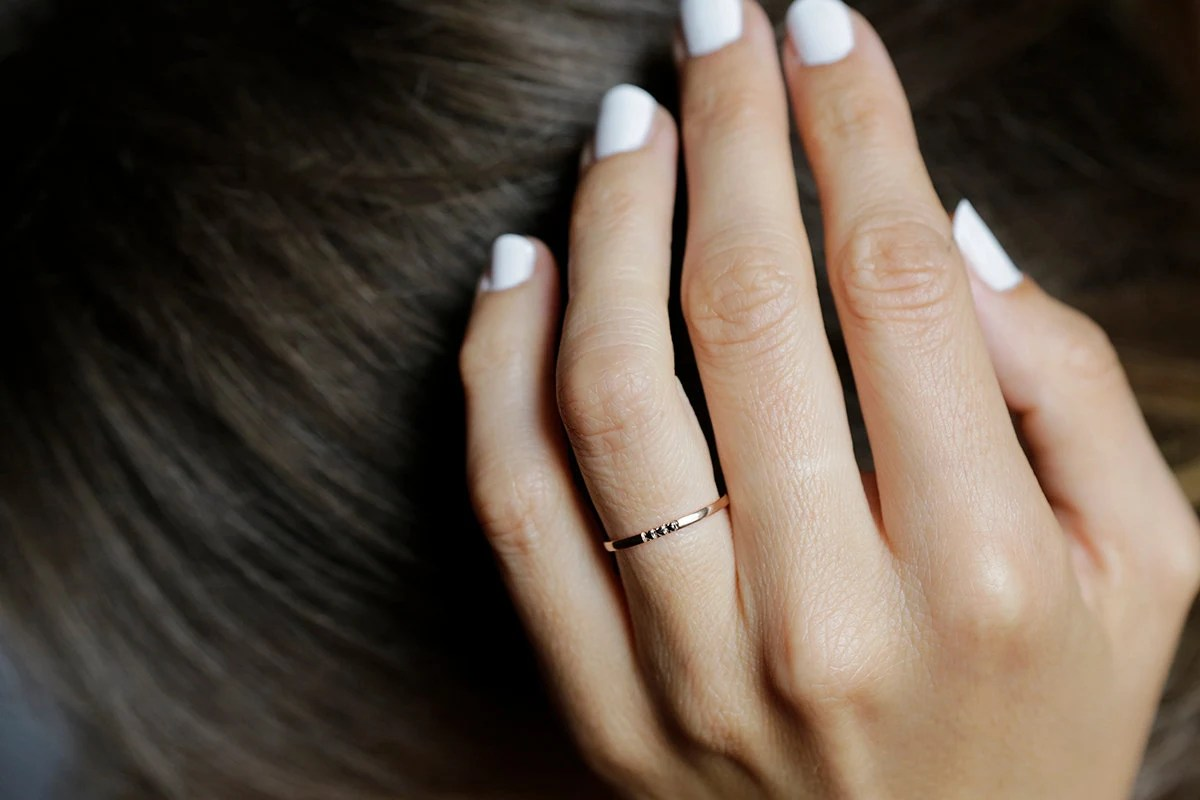 thin diamond band thin wedding bands Rose Gold Diamond Band Dainty Wedding Ring Rose Gold Wedding Band Black Diamond ring 14k Solid gold