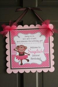 Monkey Tutu Birthday Party Door Sign, Monkey Ballerina ...
