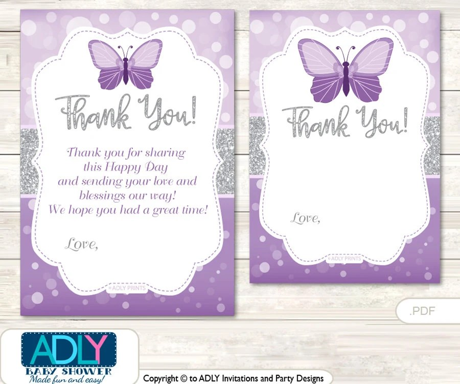 Purple Butterfly Thank you Card Printable for Baby Purple Shower or - butterfly thank you cards