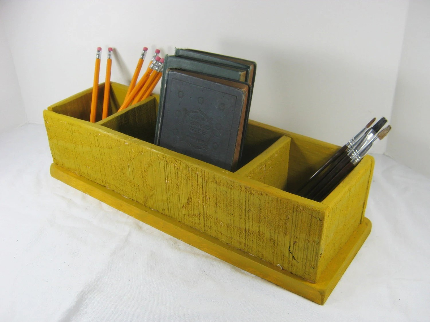 Desk Organizer Wood Vintage Desk Organizer Wood Storage Box Chartreuse Paint 3