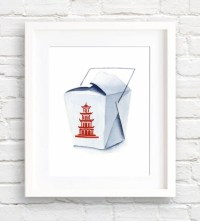 Chinese Take Out Art Print Kitchen Wall Decor Watercolor