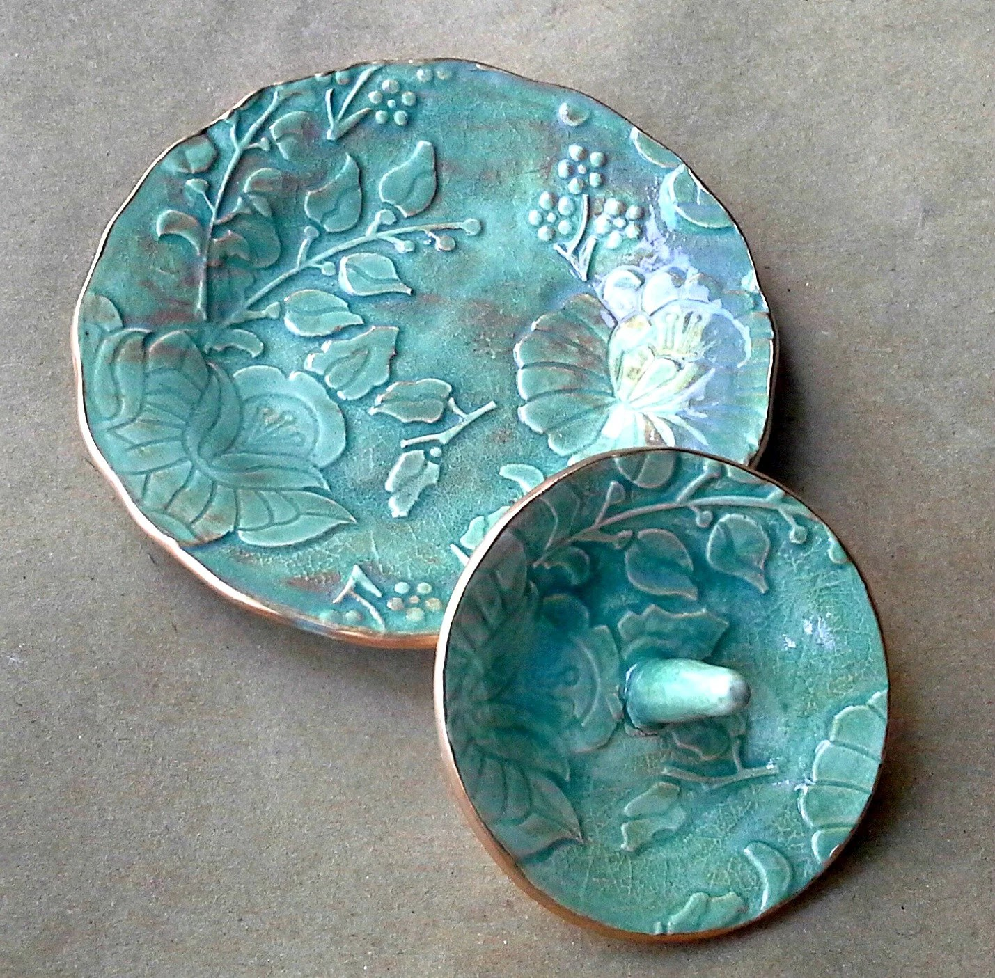 Ceramic Ring Holder And Jewelry Storage Bowl Set Sea Green
