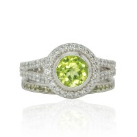 Wedding Ring Set Lime Green Peridot and Diamond Split Shank