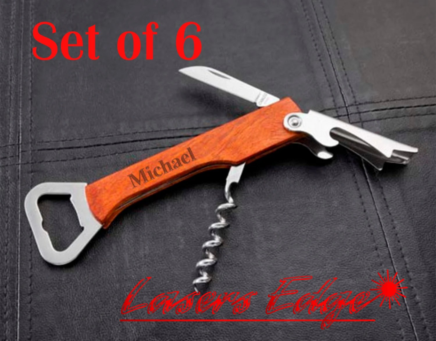Cool Corkscrew Gifts Set Of 6 Personalized Bottle Openers Engraved Corkscrew