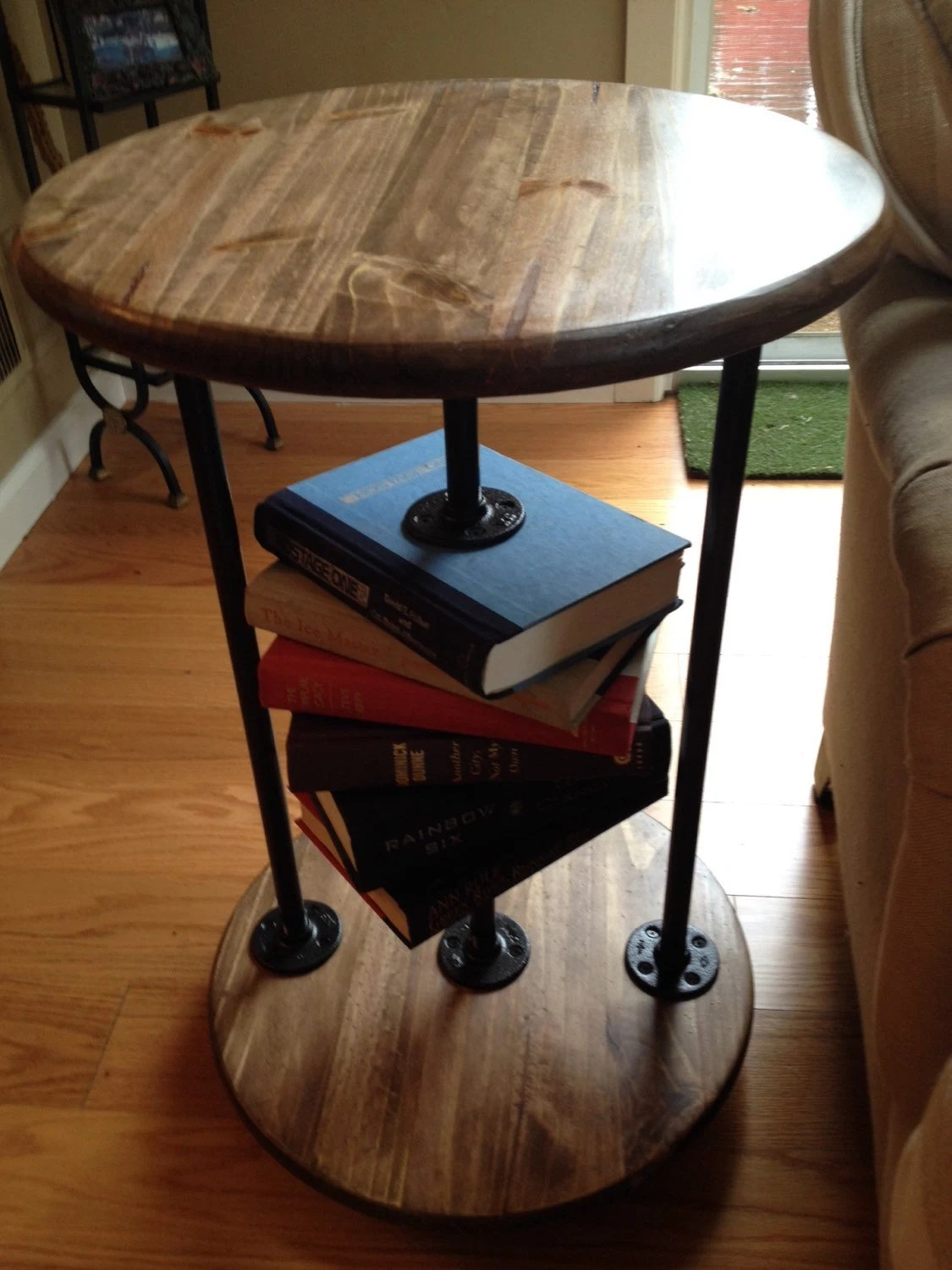 Round Industrial End Table Book Lovers Ii Round Industrial End Table Side Table