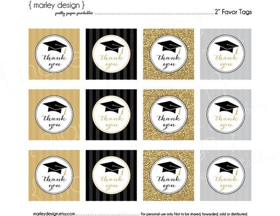 Graduation Thank You Tags Grad Favor Tags Graduation Party Black - thank you for graduation