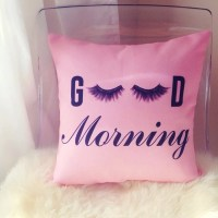 Good Morning eyelashes cushion cover pillow throw pillow