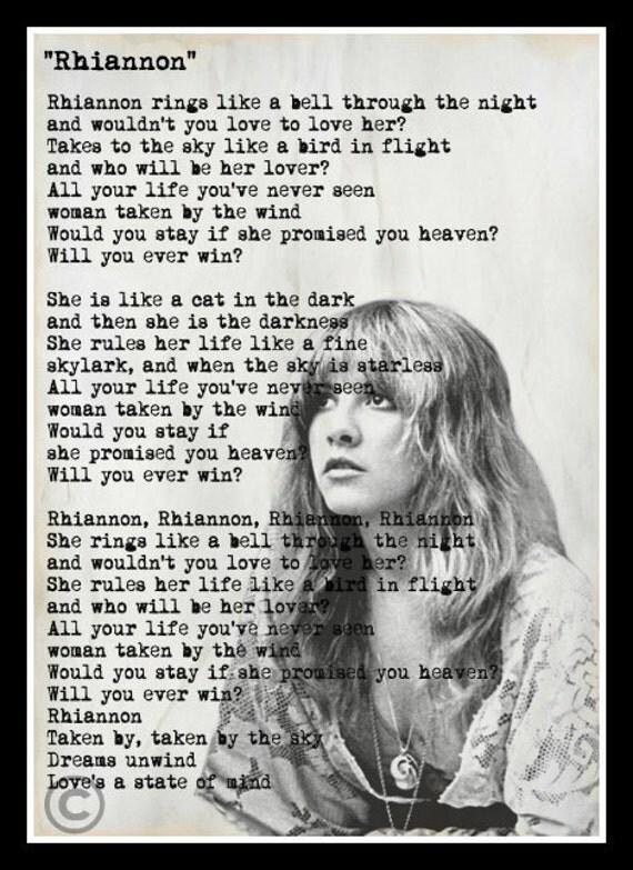 Minimalist Quote Wallpaper Custom Stevie Nicks Fleetwood Mac Rhiannon Lyrics Minimalist