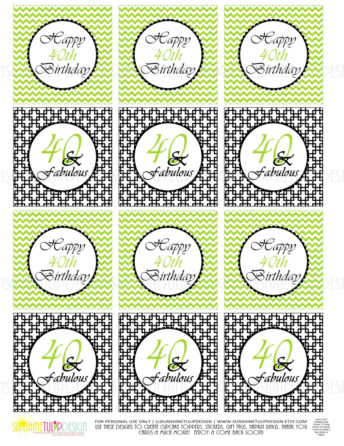 40th Birthday Black and Lime Green Printable Cupcake Toppers Sticker