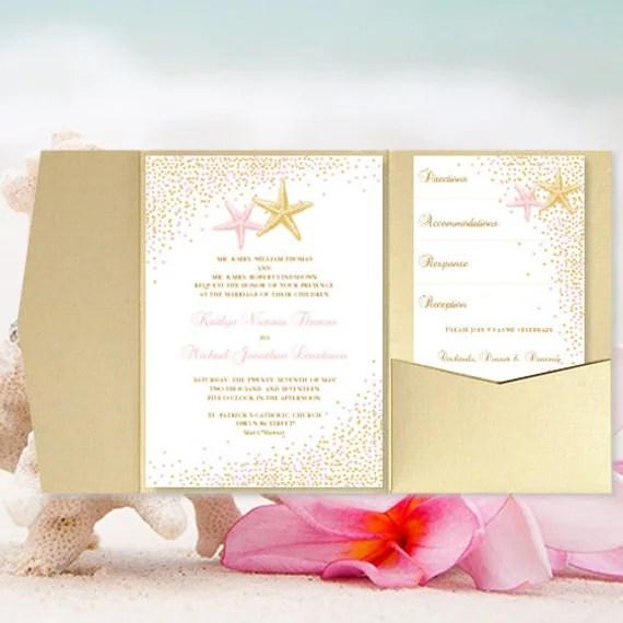 Diy Pocket Fold Beach Wedding Invitation Confetti