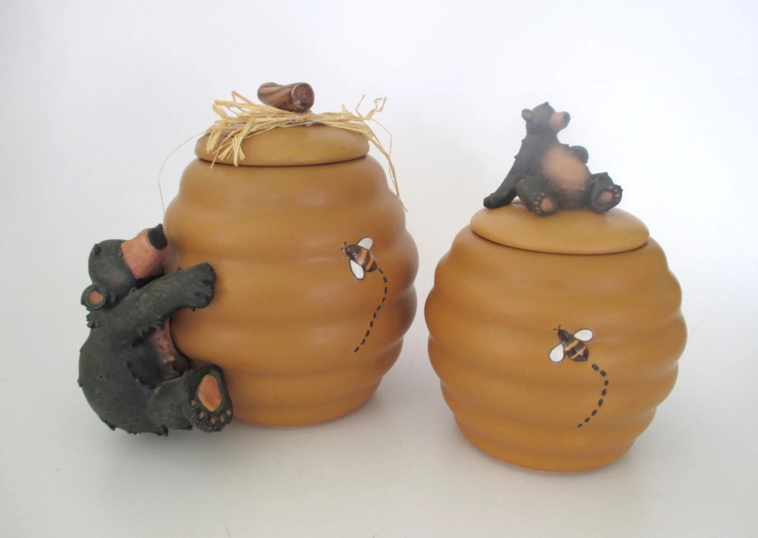 Ceramic Cookie Jar Sets Honour Pottery Bee Hive And Bears Canister And Cookie Jar Set
