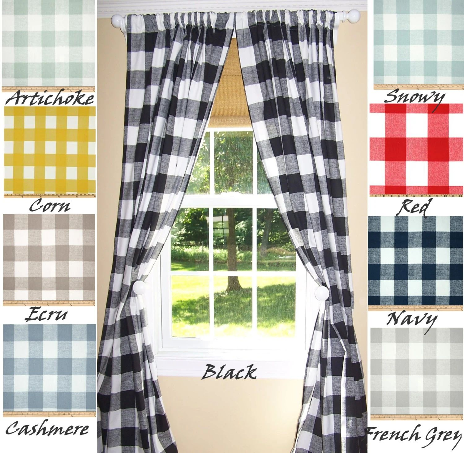 Black and white buffalo checked curtains buffalo check curtains 9 colors black curtains large check