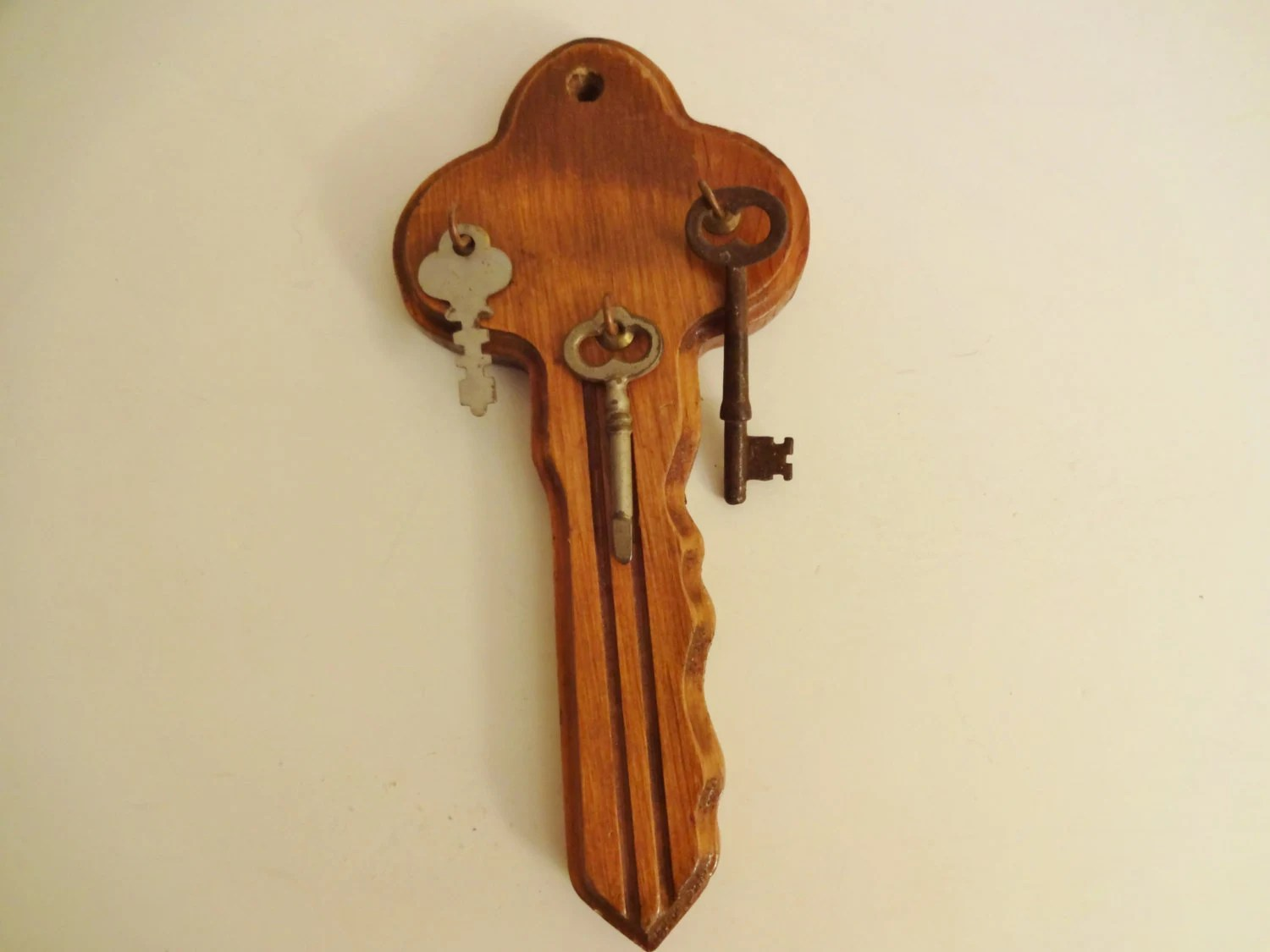 Key Shaped Key Rack Vintage Wooden Key Shaped Key Holder Wall Mounted Key Rack