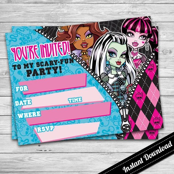 Monster High Invitation Printable Blank By Dsinvitations
