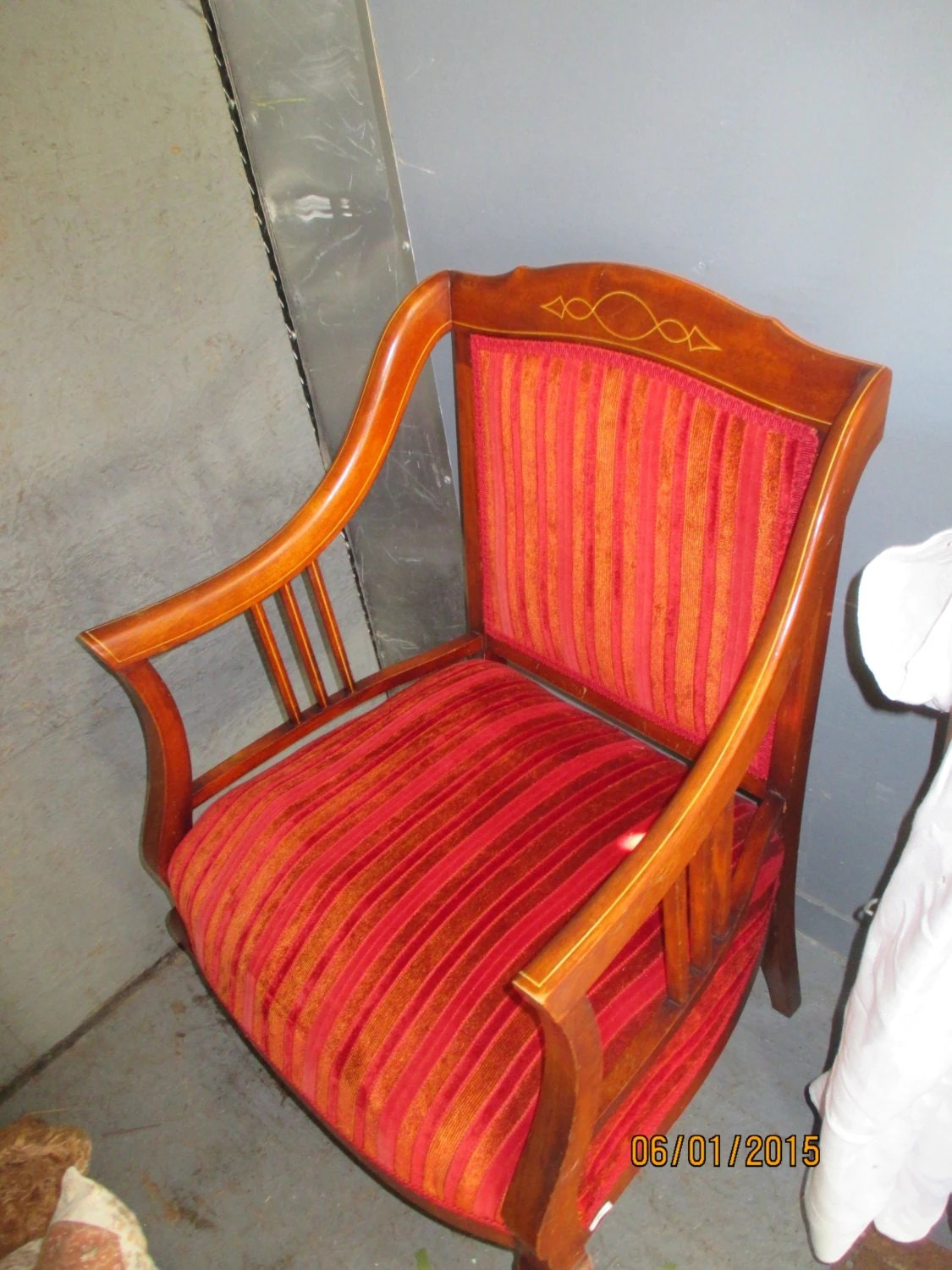 Red Striped Chair Victorian Upholstered Parlor Chai R Cherry Red Striped