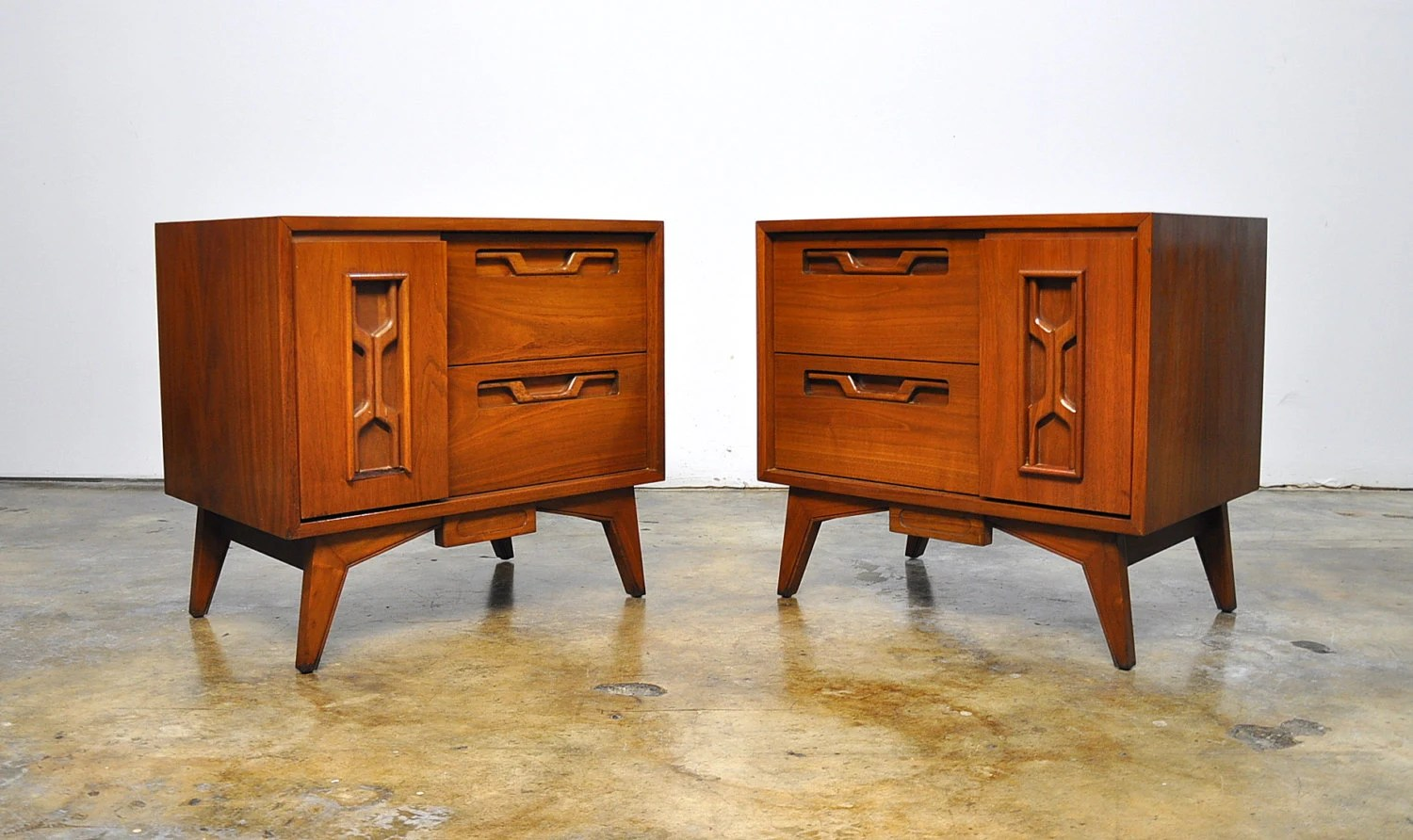 Danish Bedside Table Pair Of Mid Century Modern Nightstands Bedside Side Or End