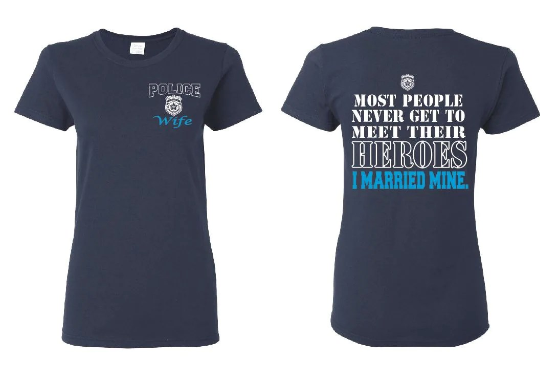 police wife gift law enforcement wedding bands Police Wife Ladies T Shirt Officer Gift Police Wife Gifts Girlfriend Shirt Police Badge Real Men Funny Tshirts Cop Wife Hero I Married Mine