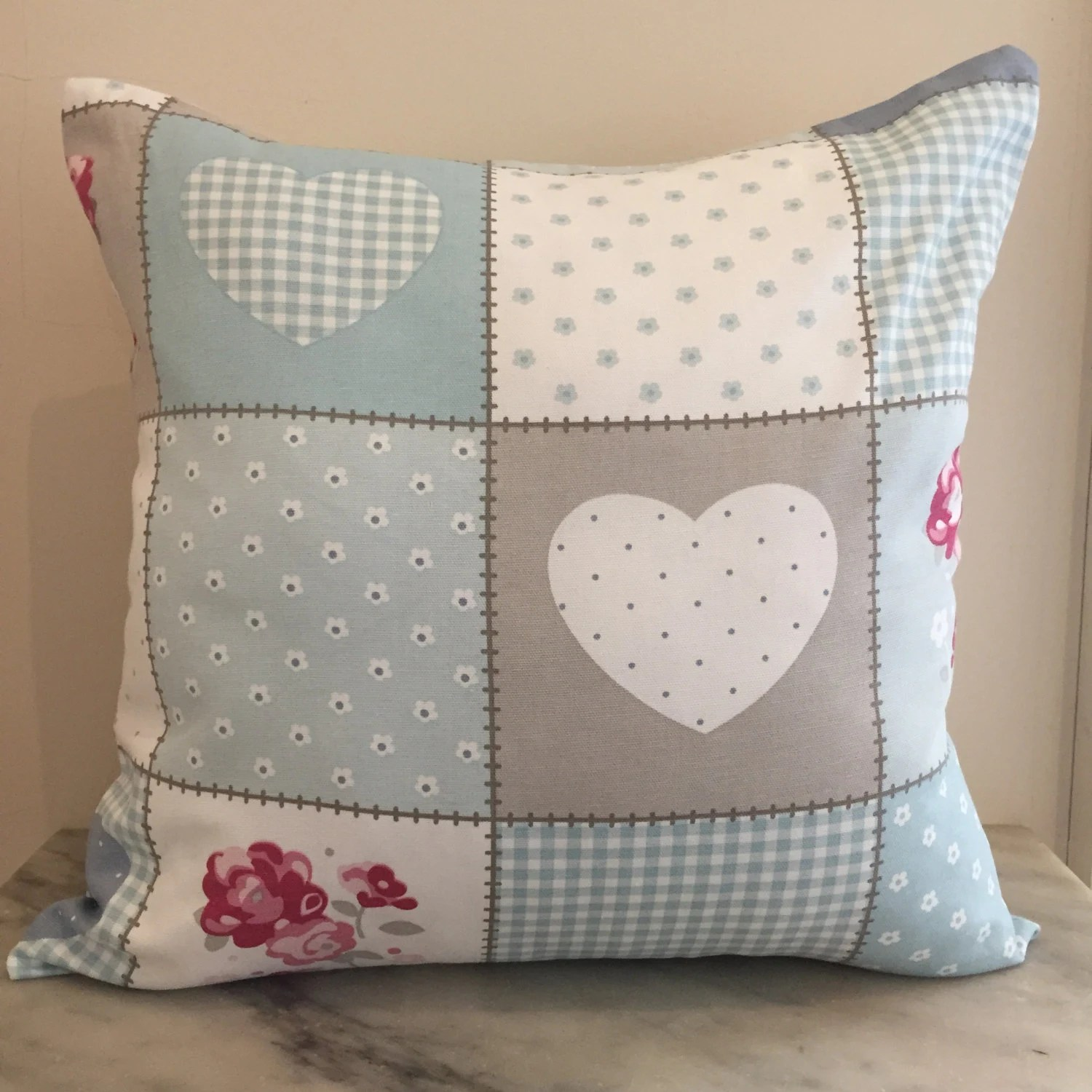 Patchwork Print Canvas Cushion Pillow Cover Double Sided