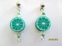 Lime Earrings-childrens clip on earrings-fruit