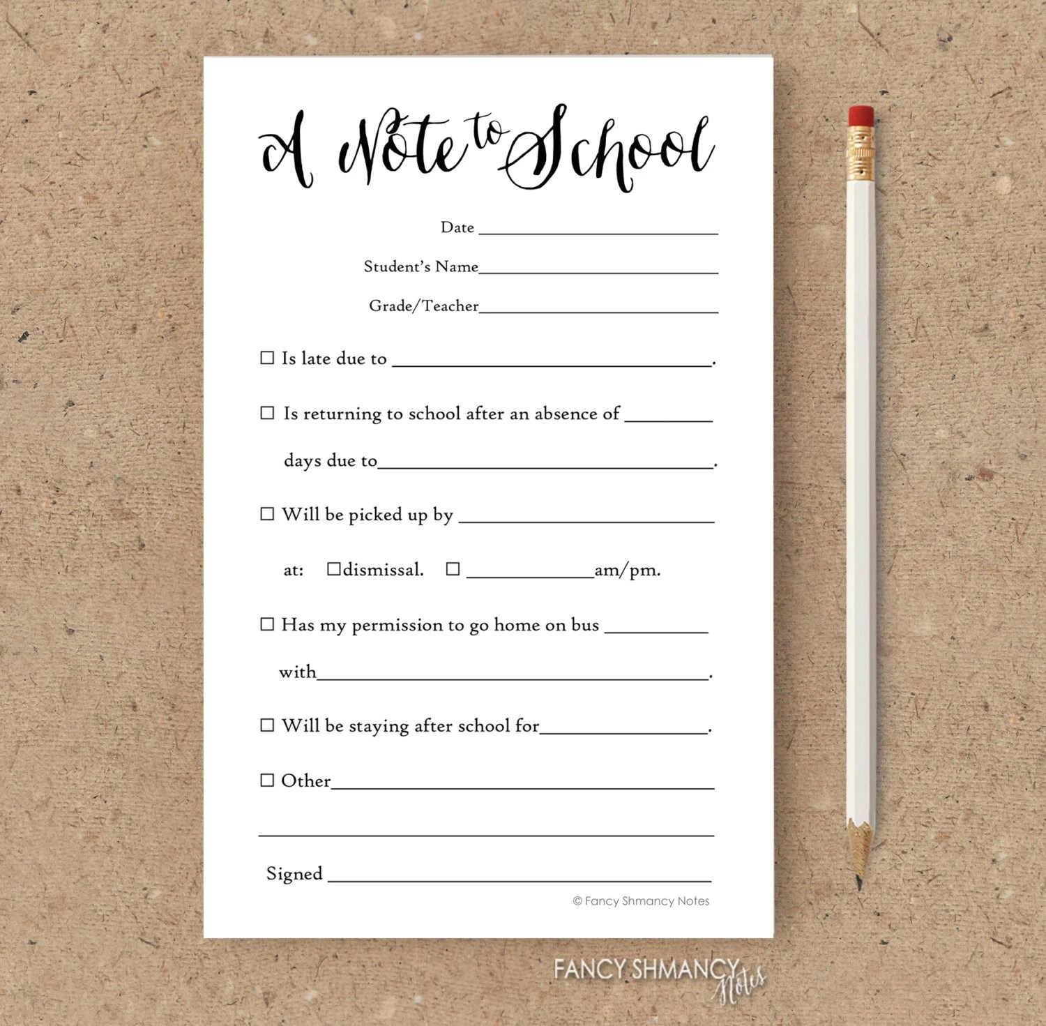 Fill in School Notes / Printable Notepad / Back to School Notepads
