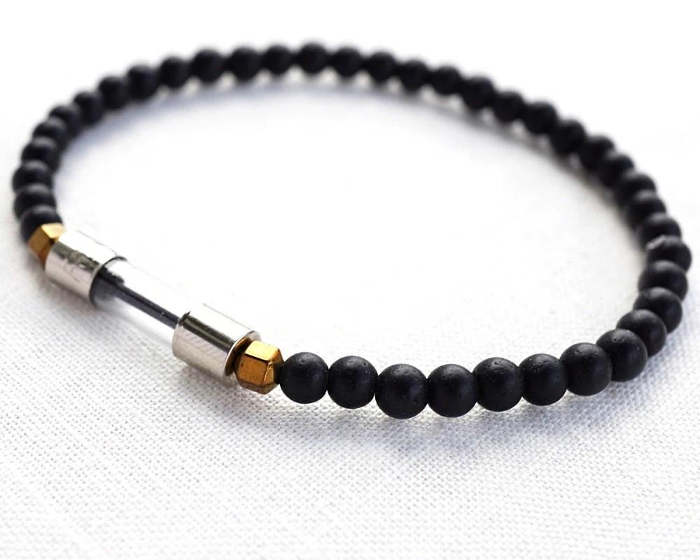 Men Bracelet Wearable Tech Row Of Asteroids Glass Fuse Tube
