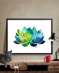 Lotus Flower Wall Art Lotus Flower Decor Watercolor Yoga