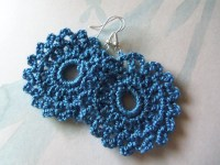 Blue Handmade Crochet Earrings by Roxana010 on Etsy