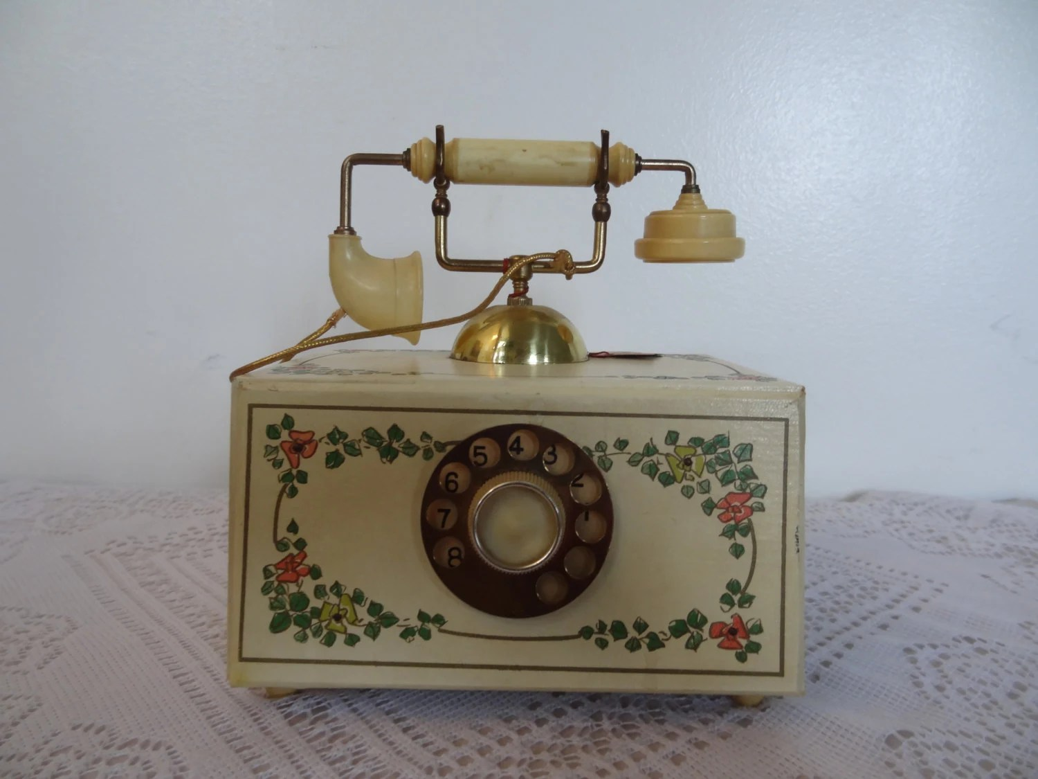 Vintage Style Jewellery Box Antique Style Floral Phone Jewelry Music Box Made In Japan