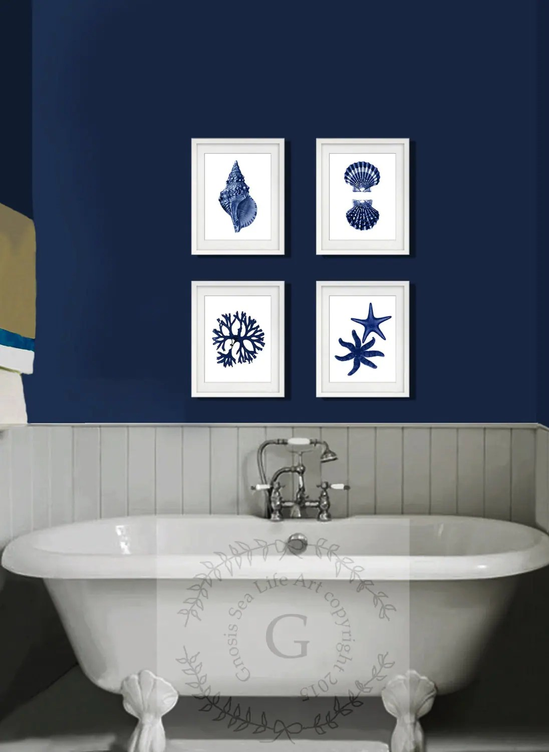 Bathroom Wall Art And Decor Coastal Wall Decor Navy Blue Wall Art Set Of 4 Beach Decor