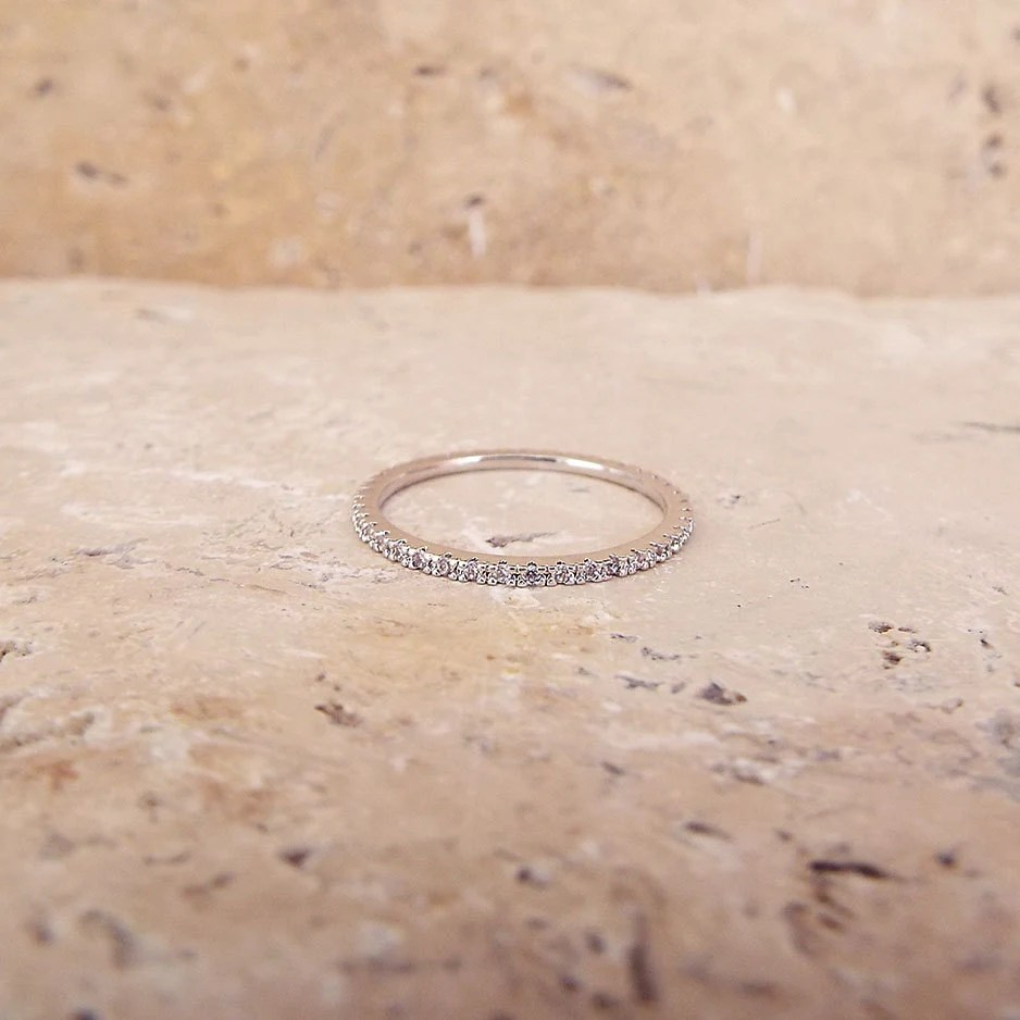diamond stack ring safety wedding band 1 mm White Gold High Quality Eternity Ring CZ Diamond Ring Stacking Eternity Ring Rhodium Full Eternity Micro Pave Ultra thin Wedding Band