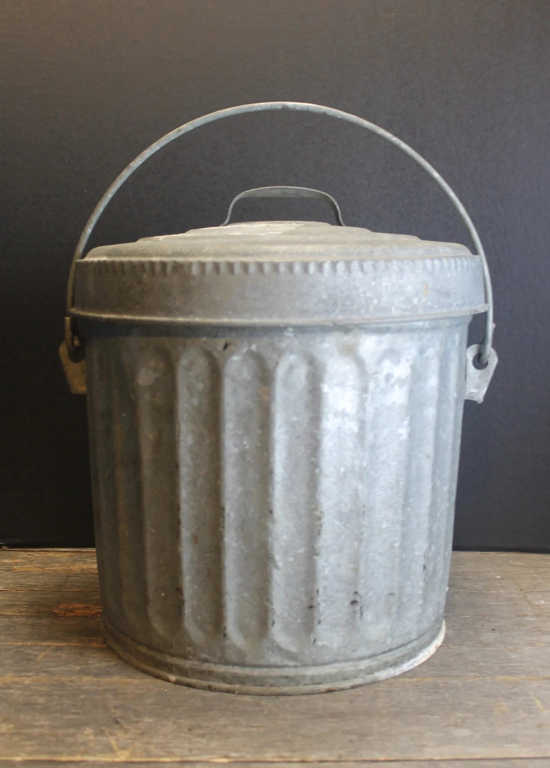 Small Metal Trash Cans With Lids Vintage Galvanized Metal Wheeling Garbage Bin Storage