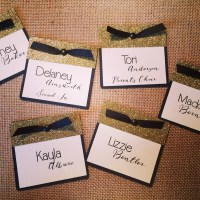 Cute name tags! Heavy cardstock and printed/assembled for ...