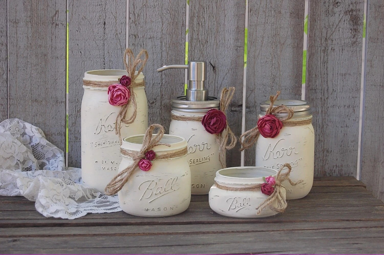 Bad Accessoires Shabby Chic Mason Jar Bathroom Set Ivory Orchid Rose Shabby Chic Soap