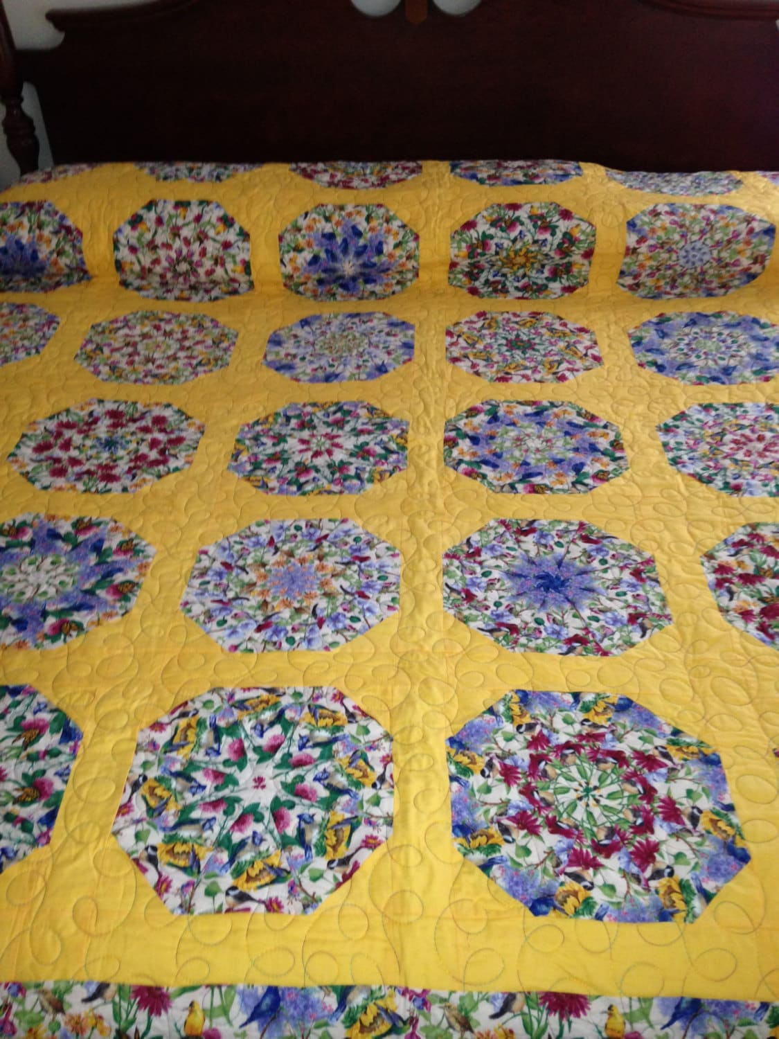 King Quilt Size King Size Bed Yellow Blue Flowers And Birds Pie Pattern Quilt