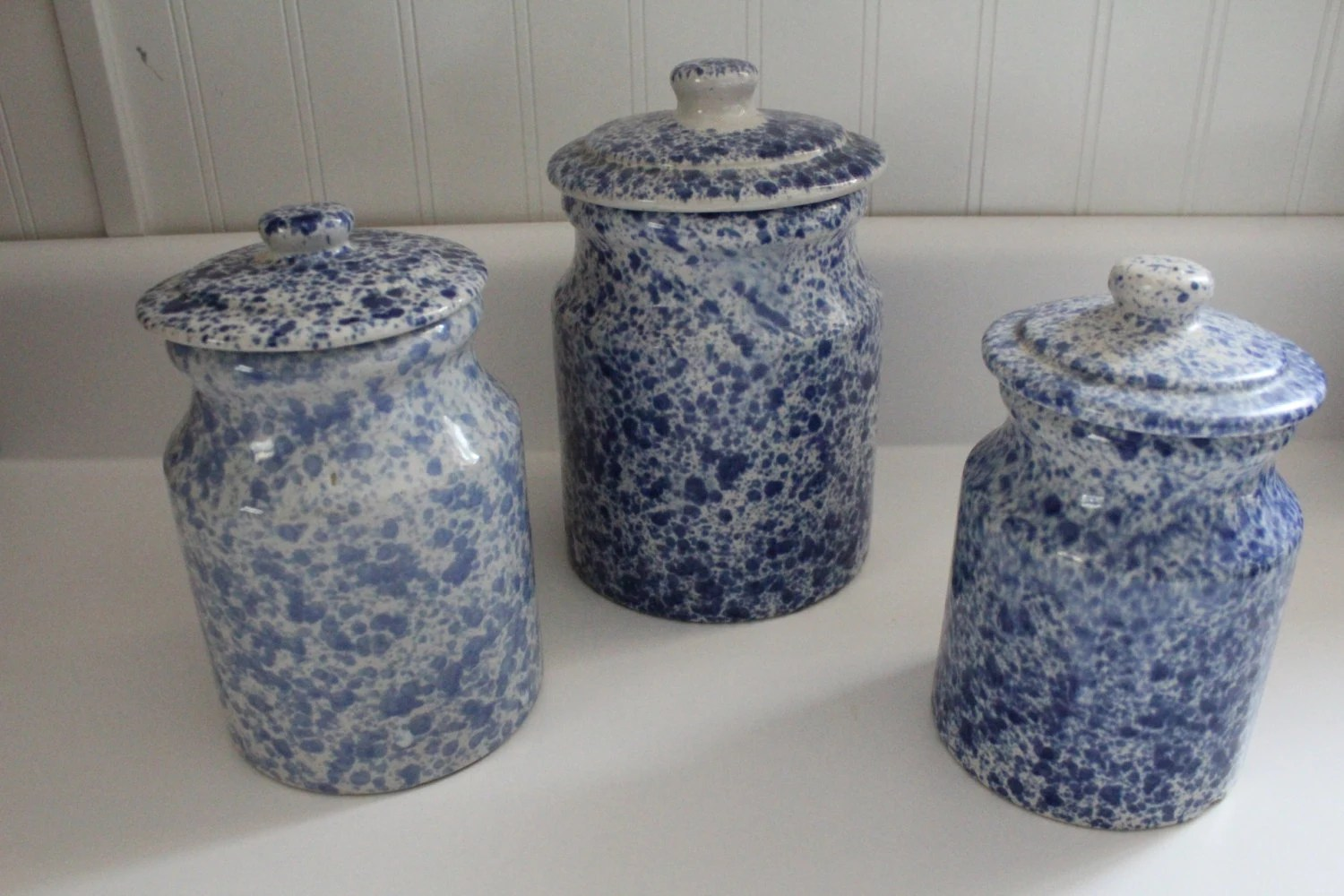 Ceramic Cookie Jar Sets Vintage Blue Speckled Ceramic Canister Set Cookie Jar