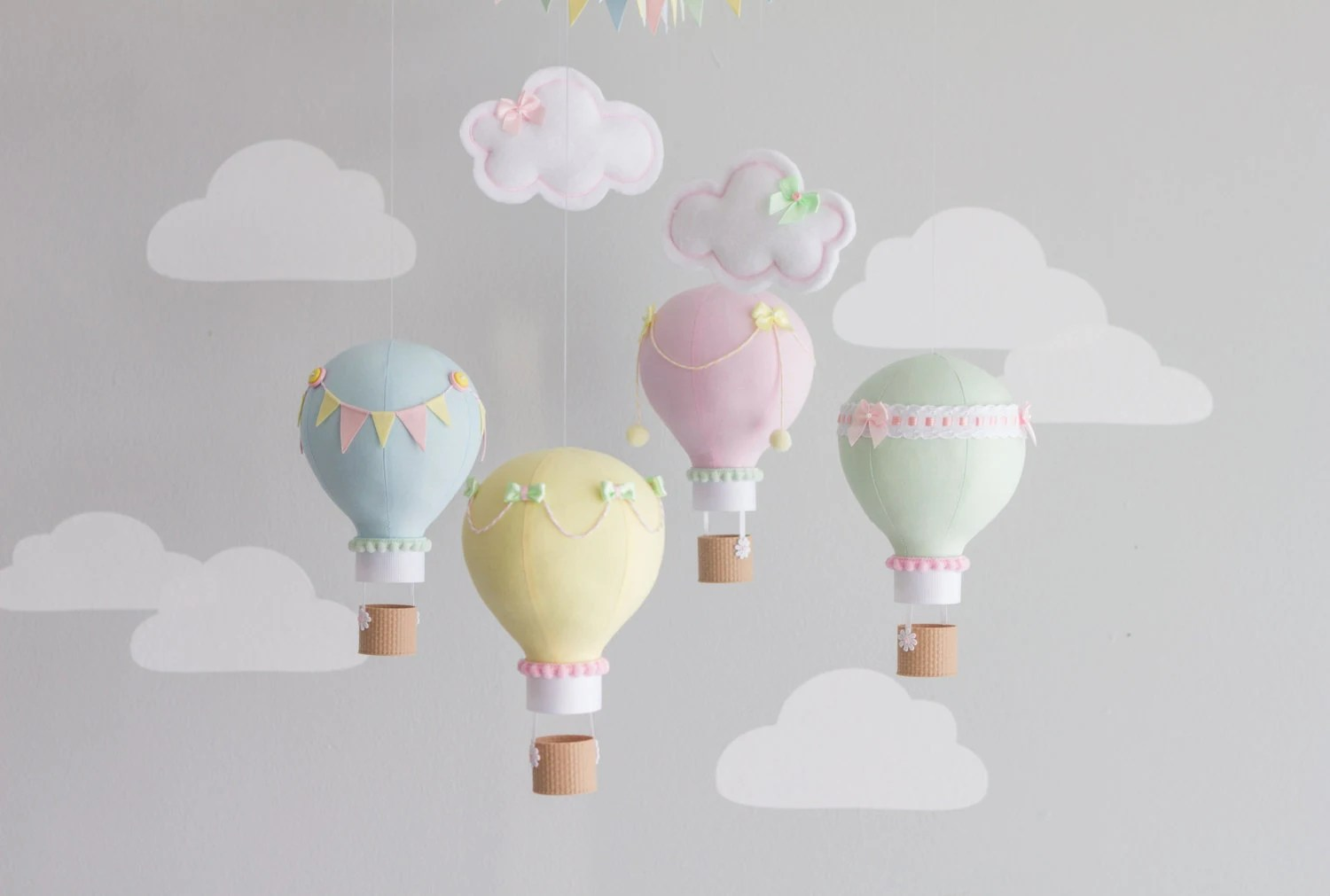 Mini Mobile Baby Pastel Baby Mobile Hot Air Balloon Mobile Custom Mobile