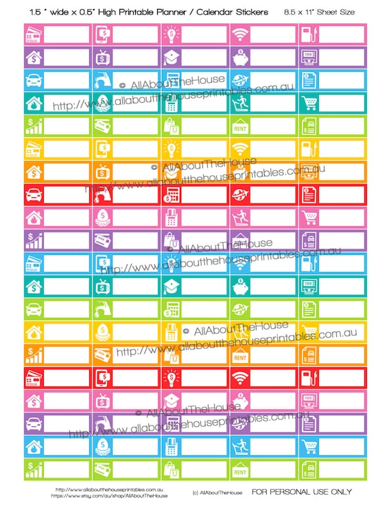 Bill Planner Stickers Printable 15\