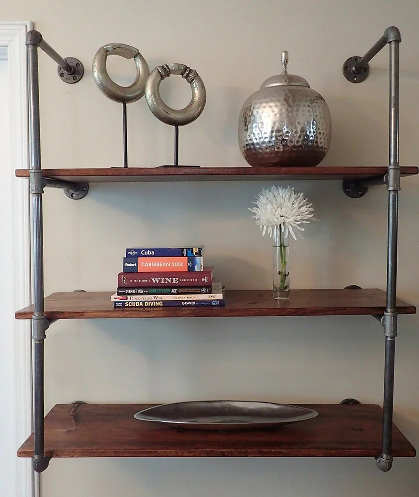Industrial Pipe Shelving Unit Wall Mounted