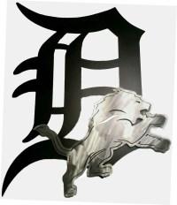 Detroit Tigers & Lions Metal Wall Art Sign.