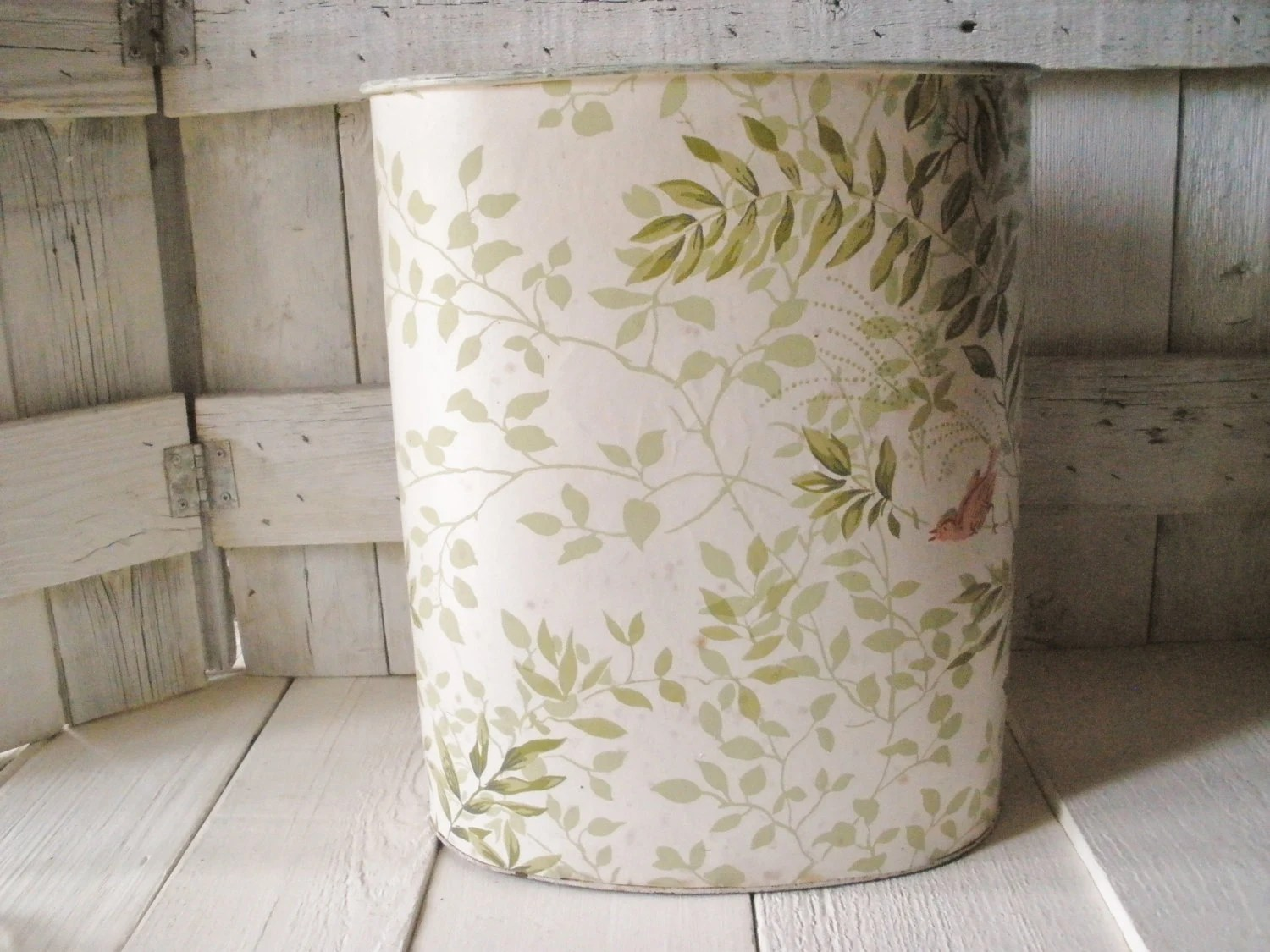 Shabby Chic Waste Baskets Vintage Trash Can Waste Paper Basket Nashco Shabby Chic Bird Vine
