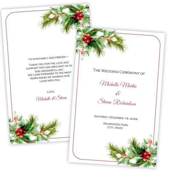 free wedding program template downloads
