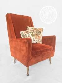 1960s Mid-Century Modern Red/Orange Velvet Swayback ...
