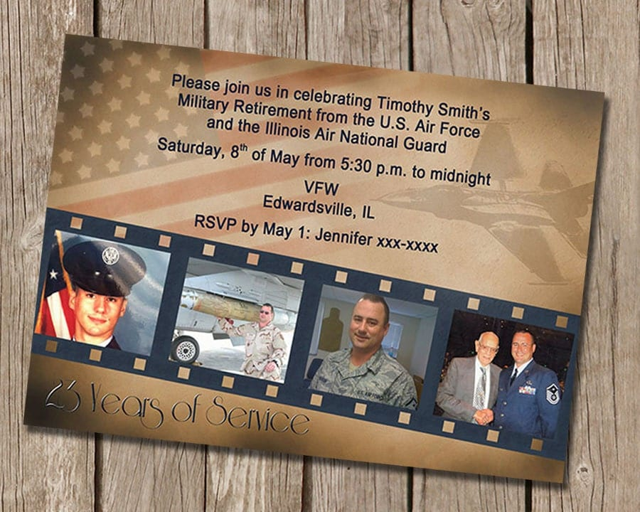 Vintage Military Retirement Party Invitation - retirement party flyer template