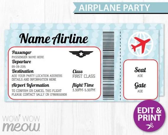 Airline Ticket Invitation Template u2013 orderecigsjuiceinfo - printable ticket invitations