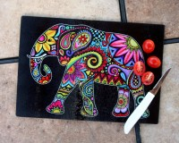 Elephant Glass Cutting Board Tempered Glass Kitchen Colorful