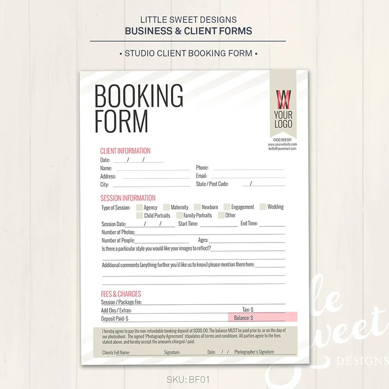 Photography Studio \/ Client Booking Form Photoshop Template - client information form template