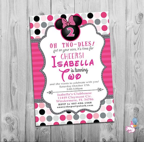 Minnie Mouse Birthday Invitations Printable Girls Party Invitation
