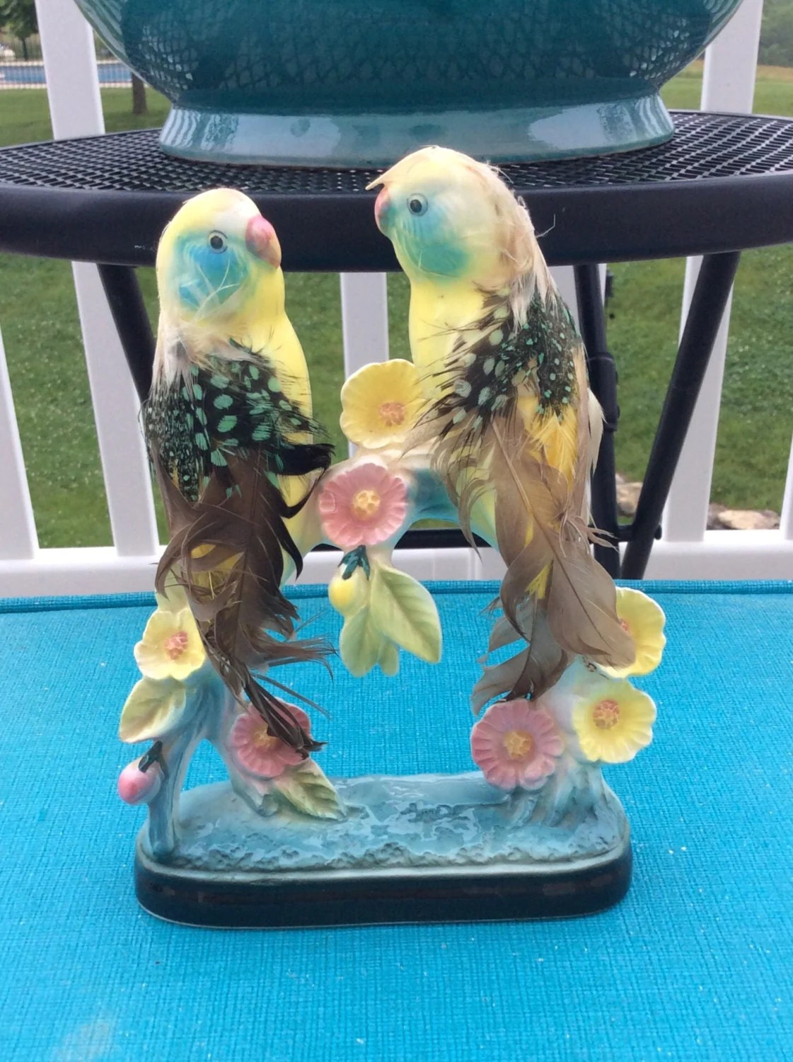 Love Bird Figurines Vintage Love Birds Figurine With Real Feathers Collectable