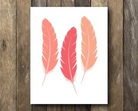 Feather Printable Pink Wall Art Feather Art Print Pink